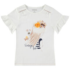 Κοντομάνικη μπλούζα με βολάν στα μανίκια, στάμπα πριγκίπισσα και ανάγλυφο λουλούδι