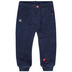 Βελουτέ σκούρο μπλε παντελόνι με στάμπα Μίκυ της Disney