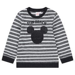 Φανελένιο φούτερ με ρίγες και μοτίβο Μίκυ της ©Disney από «μαγικές» πούλιες