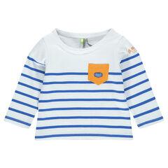 Μακρυμάνικη μπλούζα σε ναυτικό στιλ με τσέπη και σήμα-μπάλωμα