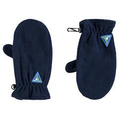 Φλις γάντια με ενιαία παλάμη και σήμα από καουτσούκ σε τριγωνικό σχήμα