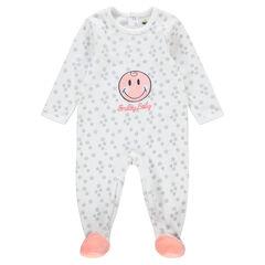 Βελουτέ φορμάκι ύπνου με μπάλωμα ©Smiley και κεντημένη φράση