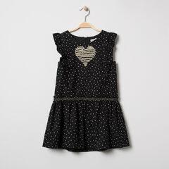 Κοντομάνικο φόρεμα με βολάν και καρδούλες σε όλη την επιφάνεια