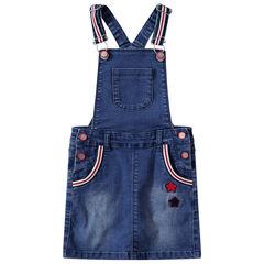 Τζιν φόρεμα-σαλοπέτα με ριγέ λωρίδες και μπουκλέ αστέρια