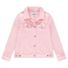 Παιδικά - Τζιν ροζ μπουφάν με διακοσμητικές πέρλες