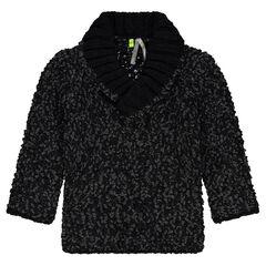 Φαντεζί πλεκτό πουλόβερ με γιακά σάλι