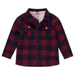 Φανελένιο καρό πουκάμισο  με φερμουάρ και με επένδυση από sherpa