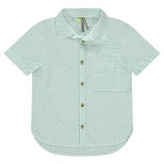 Κοντομάνικο ριγέ πουκάμισο με λεπτές ρίγες