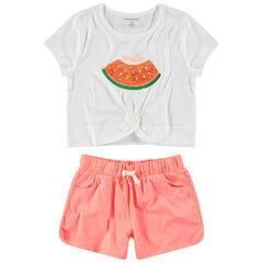 Παιδικά - Σετ με καρπούζι με πούλιες και σορτσάκι σε μελανζέ ζέρσεϊ
