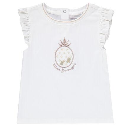Αμάνικη μπλούζα με βολάν και κεντημένο ανανά