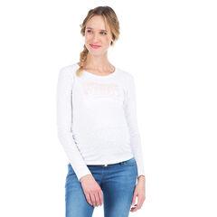 Μακρυμάνικη μπλούζα εγκυμοσύνης με ιριδίζουσα φράση