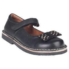 Μαύρα δερμάτινα παπουτσάκια αγκαλιάς με φιόγκο και πριτσίνια