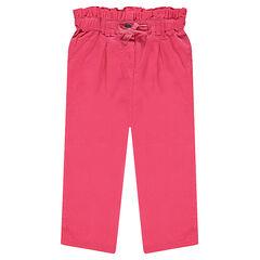 Ροζ παντελόνι με σφηκοφωλιά στη μέση και φιόγκο γυαλιστερό