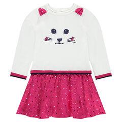 Μακρυμάνικο φόρεμα 2 σε 1 με ανάγλυφα αυτάκια και τύπωμα γάτα