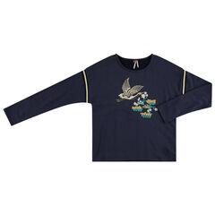 Παιδικά - Φούτερ από φανέλα με κεντημένο πουλάκι μπροστά