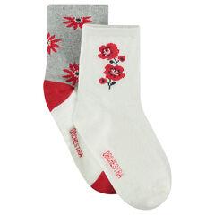 Σετ με 2 ζευγάρια ασορτί κάλτσες με ζακάρ λουλούδια