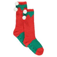 Ψηλές αντιολισθητικές χριστουγεννιάτικες κάλτσες με πον-πον