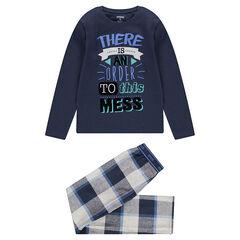 Παιδικά - Πιτζάμα με στάμπα στο πάνω μέρος και φανελένιο παντελόνι καρό