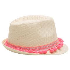 Καπέλο τύπου μπορσαλίνο με όψη ψάθας και σιρίτι με φουντίτσες