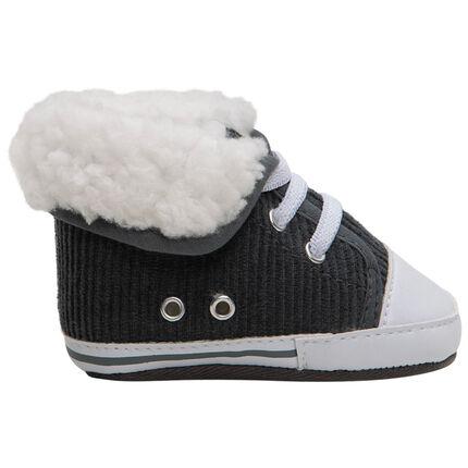 Πάνινα κοτλέ παπούτσια με ρεβέρ από συνθετική γούνα