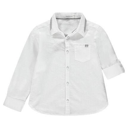 Μακρυμάνικο βαμβακερό πουκάμισο με τσέπη και λεπτομέρεις με ρίγες