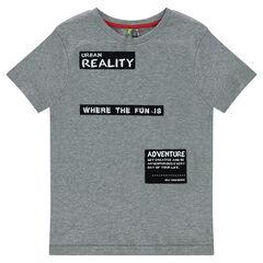 Κοντομάνικη μπλούζα από ζέρσεϊ με τυπωμένα σήματα