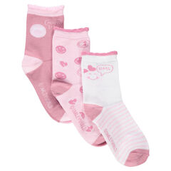Σετ με 3 ασορτί κάλτσες με ριμπ ύφανση με διακοσμητικό σχέδιο και μοτίβο ©Smiley