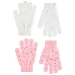 Σετ 2 ζευγάρια πλεκτά γάντια