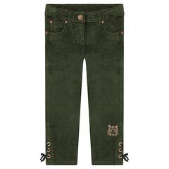 Παντελόνι βελουτέ με δέσιμο με κορδόνια χαμηλά στα μπατζάκια