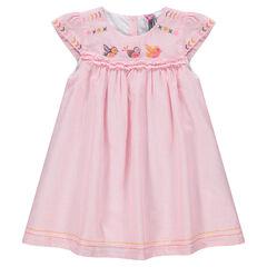 Κοντομάνικο φόρεμα με ρίγες και κεντήματα σε αντίθεση