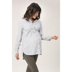Chemise manches longues à fines rayures et ceinture à nouer