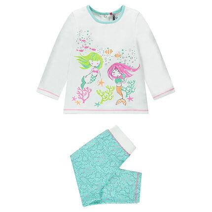 Pyjama en jersey adapté à l'âge avec print sirènes