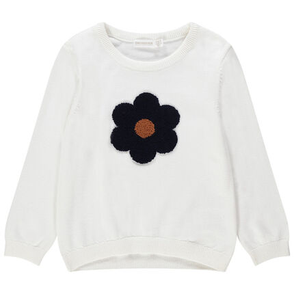 Μονόχρωμο πλεκτό πουλόβερ με λουλούδι πετσετέ