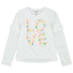 Μακρυμάνικη μπλούζα με βολάν στα μανίκια και φαντεζί τύπωμα