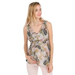 Μπλουζάκι εγκυμοσύνης με χαβανέζικο μοτίβο και κρουαζέ λαιμόκοψη