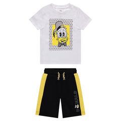 Σύνολο με μπλούζα με στάμπα Donald Duck και φανελένια δίχρωμη βερμούδα