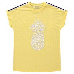 Παιδικά - Κοντομάνικη ζέρσεϊ μπλούζα με στάμπα ανανά και απλικέ λωρίδες