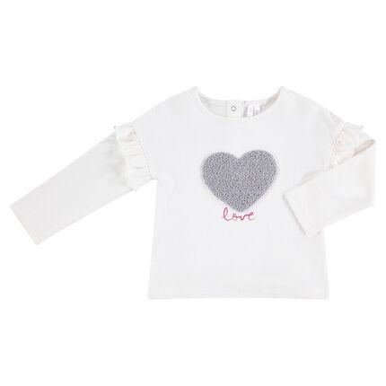 Μακρυμάνικη μπλούζα ζέρσεϊ με μπουκλέ καρδούλα