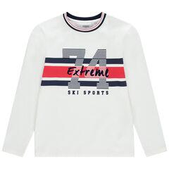 Παιδικά- Μακρυμάνικη μπλούζα ζέρσεϊ με λωρίδες σε χρώμα που κάνει αντίθεση