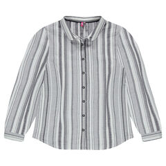Παιδικά - Μακρυμάνικο πουκάμισο με ρίγες ζακάρ σε όλη την επιφάνεια