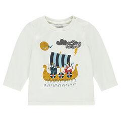 Μακρυμάνικη μπλούζα με τυπωμένο καράβι και βίκινγκ