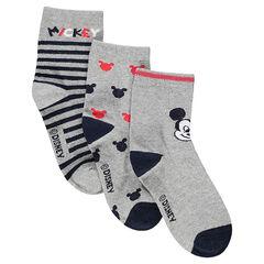 Σετ 3 ζευγάρια ασορτί κάλτσες με μοτίβο τον Μίκυ της Disney