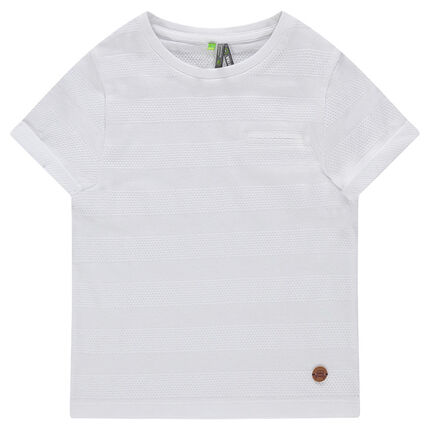 Κοντομάνικη μπλούζα με ριγέ ύφανση