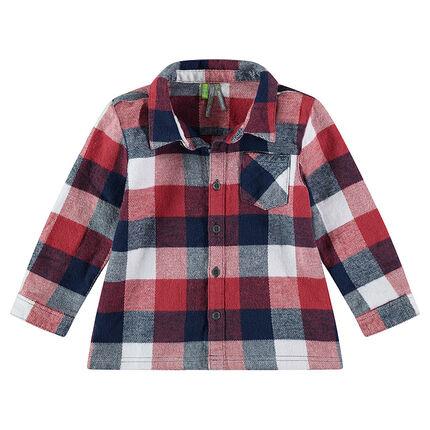 Μακρυμάνικο πουκάμισο από φανέλα με καρό σε χρώμα που κάνει αντίθεση