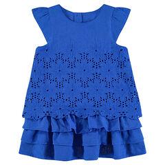 Φόρεμα κοντομάνικο με βολάν και κοφτό κέντημα