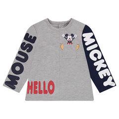 Μακρυμάνικη μπλούζα από ζέρσεϊ με τυπωμένα κείμενα με τον Mickey της ©Disney και τσέπη