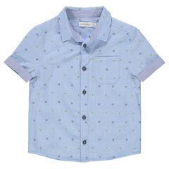 Κοντομάνικο πουκάμισο με μοτίβο που κάνει αντίθεση σε ζακάρ