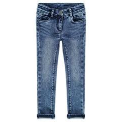 Παντελόνι από φανέλα σε slim γραμμή με όψη ντένιμ