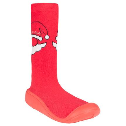 Chaussons forme chaussettes motif tête de père Noel