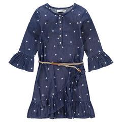 Παιδικά - Φόρεμα από σαμπρέ ύφασμα με μανίκια 3/4 και τυπωμένα αστέρια